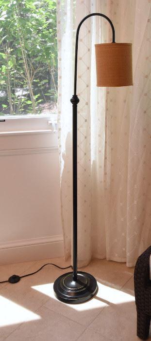 "ITEM 68: Shepherd's Hook Floor Lamp   $65 Black metal. Burlap shade. 61.5"" tall"