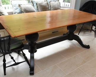 """ITEM 69: WCW Kitchen Table  $465 Double trestle black base, topped with reclaimed pine. Top shows character marks from use. 78.5"""" long, 39.5"""" wide, 30"""" tall"""