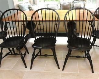 """ITEM 70: Five WCW Windsor Style Chairs $425 Two armchairs, three side chairs. Painted black. In great condition. Each chair is 21.5"""" wide, 17.5"""" long, 39.5"""" tall"""