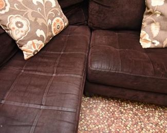"""ITEM 71: Dark Brown Microsuede Sectional  $225 113.5"""" x 87"""" x 26.5"""" tall. Shows some signs of wear - """"polished"""" areas, but otherwise in good condition."""