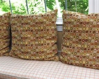 """ITEM 73: Three Polka Dot Pillows  $30 Each pillow has orange, yellow, barn red, and olive green. 25"""" x 23'"""