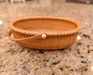 """ITEM 77: Small Bill & Janet Sayles Nantucket Basket  $325 Oval basket is 6"""" long, 4"""" wide, signed on the bottom, made in 1998. Excellent condition"""