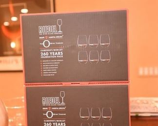 ITEM 78: Riedel Cabernet/Merlot Stemless Glasses Set of 6  $25 per box Brand new in box.  Five boxes available