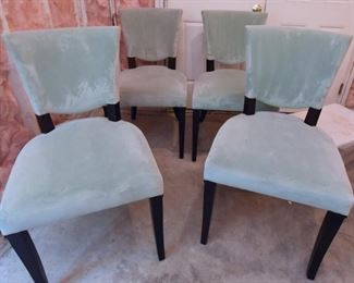 ITEM 85: Jessica Charles Blue Velvet Chairs  $400 Low pile velvet, excellent condition. These haven't been in the basement long - the stagers moved it down there a few weeks ago.