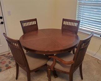 PA-1  Pelican Bay - 6 Cane Back Chairs & Table  $275                           31Hx65L(w/leaf)x48W(w/o leaf)