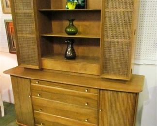Auction #2 -- Heywood Wakefield side/display, all original.   Top section is unattached for easier moving.   Pristine condition, with original Sable finish.  Mid-1950s construction.   Minimum opening bid: $100