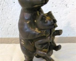 "Auction #4 brass bear with cub, coin bank.  5"" tall, unmarked.   Opening bid: $5"