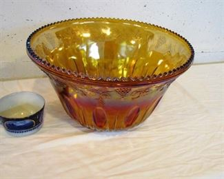 "Auction #6  ...  Carnival glass punch bowl.  7 1/2"" tall x 12"" wide."