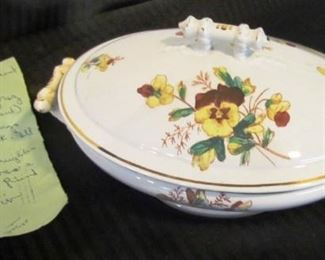 "Auction #11 ... a casserole with a story inside:   Given as a wedding present in 1880.  Bowl is 10"" across the lid.  Labeled ""Knowles & Taylor and Knowles - ironstone china.""  Min. opening bid: $5"