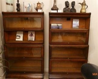 2 identical Antique Barrister bookcases by Hall - sometimes called Lawyers bookcases -