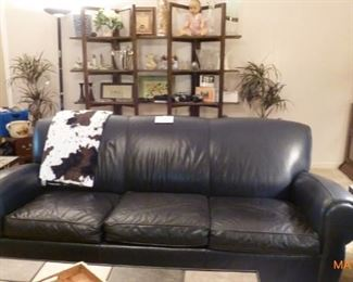 Leather - Navy Blue - Sofa - has a matching recliner chair
