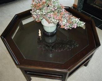 """Black Octagon 62"""" glass table by Baker Furniture"""