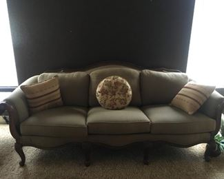 Queen Anne style camel back sofa.  Excellent condition.  No stains, spots or tears on upholstery.   $800.