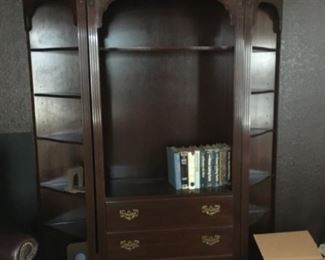 Ethan Allen bookcase, 3 pieces (may be sold separately).  (Georgian Court, 11-9211; 11-9217)                              Center:  $400         Side pieces (pair):  $700