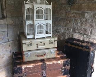 Vintage Trunks,  Suitcases,  Decorative Bird Cage