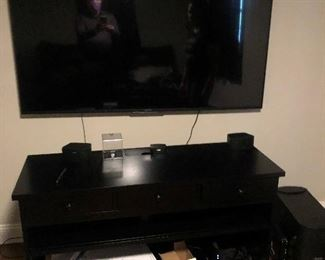 LARGE FLAT SCREEN TV AND STAND