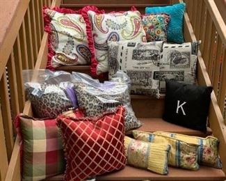 4 Coordinating Pillows ($25) ; Red & Gold (2) $12 ; 2 Printed B & W ($12) ; K ($5) ;  Pr. Animal Print, new in bags ($30) ; 3 Yellow lumbars ($12)