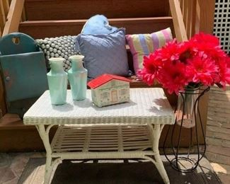 S/4 dec. pastel pillows $20 ; Ptd. Hanging Key Cupboard $25 ; Pr. Celadon Urns $40 ; Vintage Jewelry Box $8 ; White Wicker Coffee Table $25 ; Gerber Daisies w standing Urn  $25