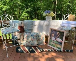 Pr.  Nautical Pillows $12 ; Patriot Paddle $20 ; Pr. New Charisma King Towels $12 ; Genuine Fishing Net $10 ; White Planter w Flowers $15 ; Lighthouse Flag $8 ; Duvet 84' x 76' (small stains) $20
