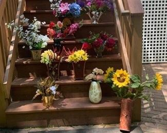 Hanging Basket & Sunflowers $6 ; Dutch Vase w Sunflowers $18 ; Brass Planter w Feathers & Fauna $14 ; Ceramic Cache Pots & Flowers $14 ; Red Vase w Flowers $6 ; Flower Arrangement $14 ; Large Cache Pot & Flowers $40 ; Tulipiere & Flowers $ 12