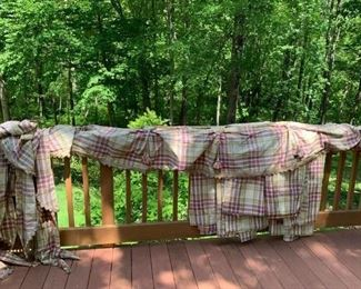 "3 Prs. 110"" Lined Cotton & Polyester & Plaid Curtains w 3 Gathered, Swag, & Tasseled Valances $300"