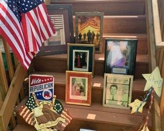 Primitive Flag  & Chicken Print $6 ; America's Heros's Print $4 ; Pr. Flags $5 ; President & Laura Bush Photo $12 ; Republican Sign $7; God Bless Metal Sign $16