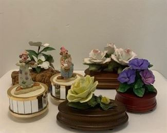 3 Roses Music Box Co. $24 ; Pair Ceramic Clowns (Taiwan) on Musical Rotating Pedestals $20 ; Violets Music Box Co $8 ; Yellow Rose Music Box Co. $10