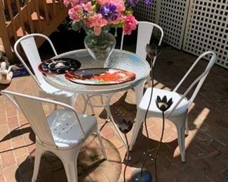 "4 French Metal Cafe Chairs & Vintage 30 3/4"" Dia. Table $225 ; S/3 Tall Votive Holders $18 ; Vase w Seaglass & Flowers $40 ; Lobster Platter $12 ; Deviled Egg Plate $8 (have 3, boxed!)"