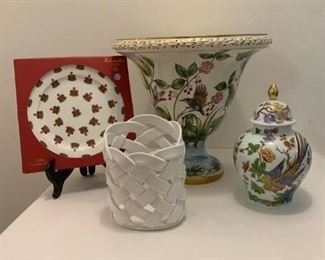 Crown China Plate $8 ; Kaiser Lidded Urn  (small chip to neck) $45