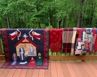 Hand quilted Christmas throw $60;  Red Damask Table Cloth $10 ; Plaid Wool Throw $12 ; Hand quilted Christmas Skirt $18