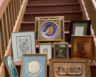 Framed Porcelain Plate Madonna & Child $165 ; Christian Businessman's Pledge $28 ; Numbered Etching of Market Scene $30 ; Cupid & Doves Print $25 ; Vintage Italian Madonna & Child Plague $20 ; Serenity Prayer Bas Relief $20 ; Mother & Child Print $15 ; Footprint $18 ; Vintage Italian Last Supper Plague $20