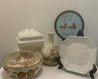Japanese Decorated Bowl $14 ; Italian Porcelian Lidded Urn $18 ; Japanese Vase $8 ; Chinese Stitch work Screen $28 ; Italian Porcelain Plate $5