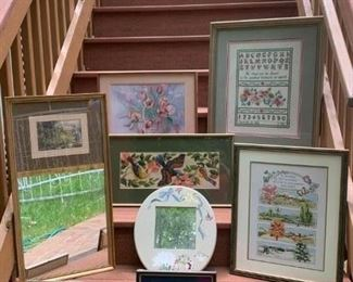 Tulip Needlepoint $30 ; Sampler $40 ; Trumeau Mirror $30 ; Hand painted Mirror $15 ; Seasons Stitch work $40 ; Peace Sampler $35 ; 1968 Needlepoint $25 ; Papillon Stitch work $15