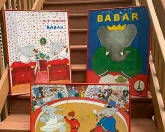 S/3 Babar Posters (one w cracked glass) $45