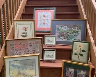 Rose Cross Stitch $50 ; Robert Grace Flower Print $25 ; Pr. Ethan Allen European City Prints $20 ; Partially completed Stitch work Cottage $20 ; Needlepoint Daisy $12 ; Signed George Debo Painting $40 ; Washington Fat Cats Framed Prints by E McAffee $25