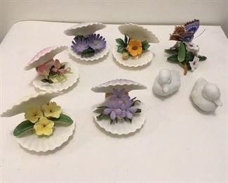 Boehm Chicory in Clam Shell $25; Boehm rock rose (losses $8); Boehm Beach Pea (needs help $10); Boehm Jacobs Ladder $25; Boehm Primrose $25; Pr Kaiser ducks $30; Lennox Butterfly $25