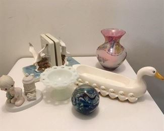 Japanese Seagull Bookends $15; Rueven Artglass Vase $24; Jonathan Winter Figurine $10; Milk Glass Compote $10; Artglass paperweight, signed $25;  Geese Serving Tray $8