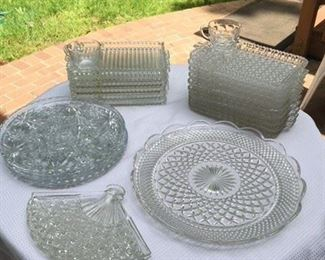 S/6 Vintage Luncheon Glass Trays w Cups $30; S/10 Vintage Luncheon Trays w Cups $50; 3 Matching Serving Plates $20; Glass Serving Platter $8; 3 Fan Glass Serving Trays $15