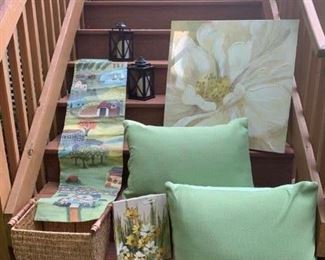 Hand Painted Farm Canvas $28 ; Pair of Lanterns $20 ; Print on Canvas $20 ; Vintage Original Daisy Painting $20