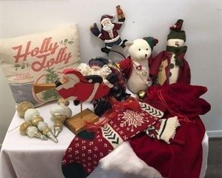 Christmas Lot 1 Including: Two Stockings, Jingle Bells, Three Dolls, Gift Sack, Pillow, Ornaments ($55)