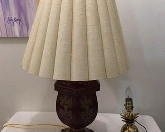 Red Tole Lamp ($65) & Brass Pineapple Lamp ($15)