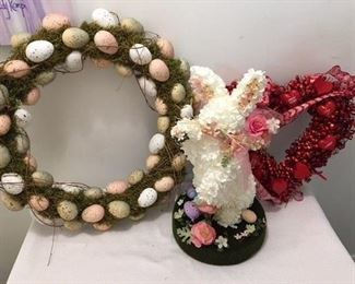 Egg Wreath $20 with hanger ; Easter Bunny $10 ; Valentines Wreath $5