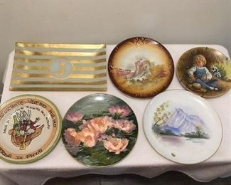 J plate $5 ; French Transferware Plate w Castle $8 ; Reco Boy Plate $5 ; Italian Restaurant Plate $12 ; Royal Doulten $12 ; Japanese Scenic Plate $8