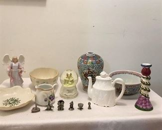 HMK Angel w loss $6; Lenox Lobed Bowl $18 ; Music Box Snow globe $6 ; Hong Kong Painted Vase & Bowl (two pieces) $30 ; Lenox Holly Bowl $14 ; German Pitcher $5 ; Lenox Tea Pot $16 ; Candlestick $3 ; S/6 Pewter miniatures $24