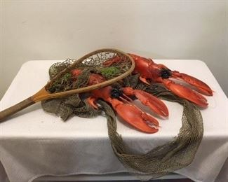Antique Fishing Net w 2 Plastic Lobsters and Miscellaneous Net $40