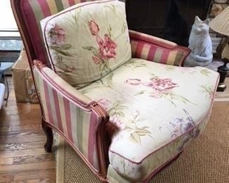 Calico Corners Upholstered Bergere $150, fading to backside