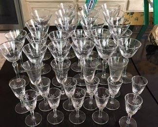 34 pc Star Cut Stemware Plus 4 Etched Sherries $95