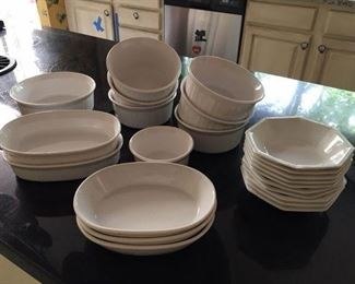 10 Pcs of White Ovenware Together w 10 English Johnson Bros bowls $28