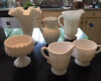 White Hobnail Vase and Pitcher $24; Pressed White Glass Pitcher $12; White Glass Pedestal Compote $10; White Glass Creamer and Sugar $16