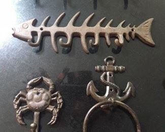 Two Long Hooks $16; Crab Hook and Anchor Towel Ring $12